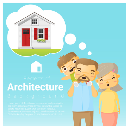 Happy family and dream house background , vector , illustration. Illustration
