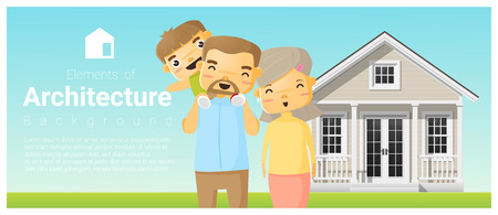 Happy family standing outside their house background , vector , illustration.