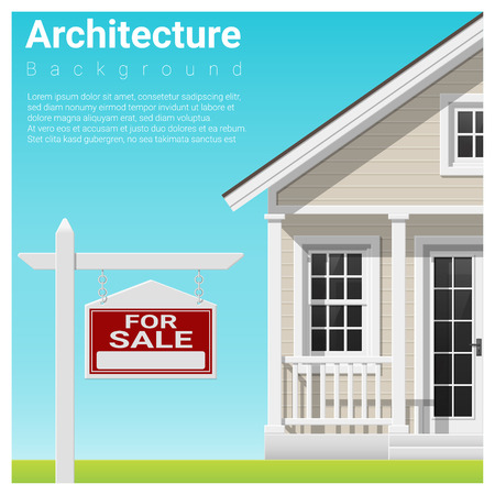 rate: Real estate investment background with house for sale , vector , illustration