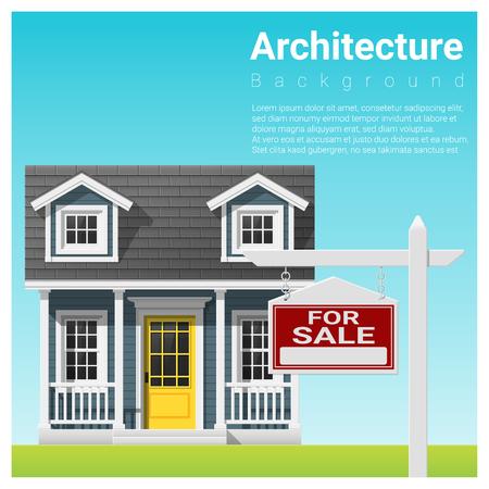 Vastgoed beleggingsachtergrond met huis te koop, vector, illustratie