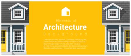 Elementen van architectuur achtergrond met een klein huis, vector, illustratie