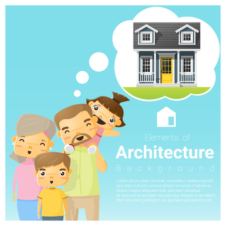 Happy family and dream house background , vector , illustration