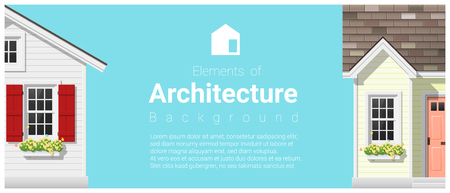 Elements of architecture background with a small house , vector ,illustration