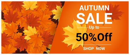 Bandera de venta de otoño con hojas de colores, vector, ilustración