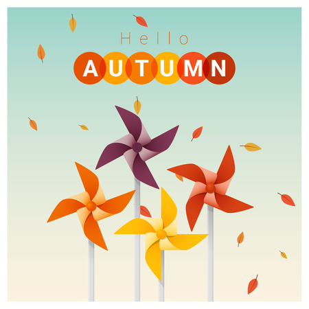 Hello autumn background with colorful pinwheels , vector , illustration.