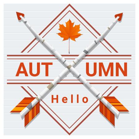 Hello autumn background with  arrows on wooden board , vector , illustration. Illustration