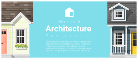 Elements of architecture background with a small house, vector,illustration Illustration