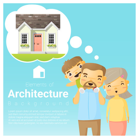 Happy family and dream house background, vector, illustration
