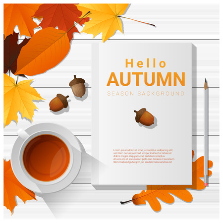 lay: Hello autumn with blank notebook on wooden board background , vector , illustration