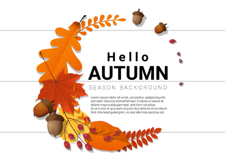 Hello autumn background with decorative wreath on wooden board , vector , illustration