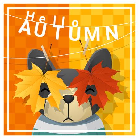 Hallo herfst achtergrond met gelukkige hond, vector, illustratie