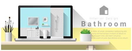 bathroom interior: Modern bathroom interior design background , vector , illustration Illustration