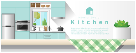kitchen cabinets: Interior design with table top and Modern kitchen background , vector , illustration