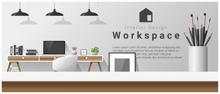 テーブルトップと近代的なオフィスワークプレースとインテリアデザイン。  イラスト・ベクター素材