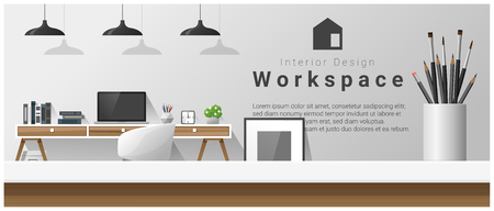 Interior design with table top and Modern office workplace. Illustration
