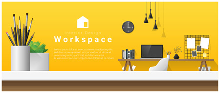 Interior design with table top and Modern office workplace. Ilustração