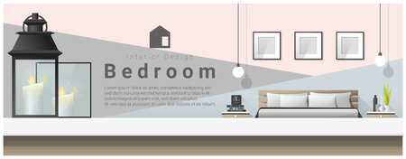 counter top: Interior design with table top and Modern bedroom background , vector , illustration