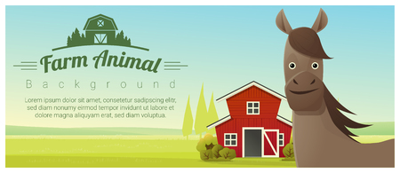 Farm animal and Rural landscape background with horse , vector , illustration