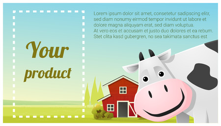 A Farm animal and Rural landscape background with cow vector illustration.