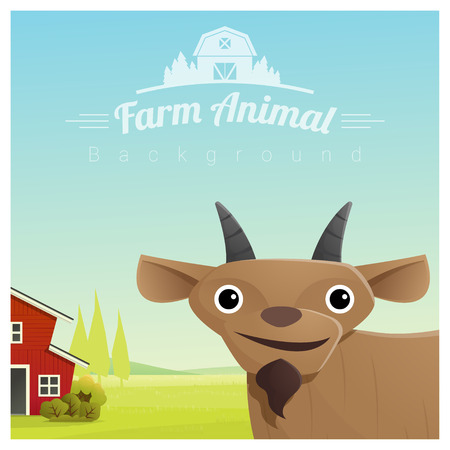 A Farm animal and Rural landscape background with goat vector illustration.