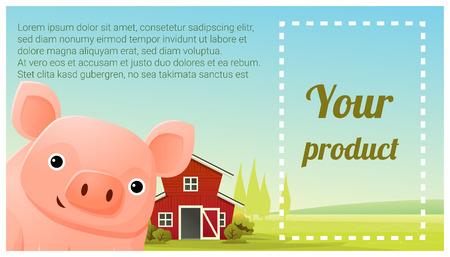 A Farm animal and Rural landscape background with pig vector illustration. Illustration
