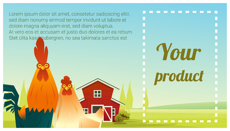 A Farm animal and Rural landscape background with chicken vector illustration. Illustration