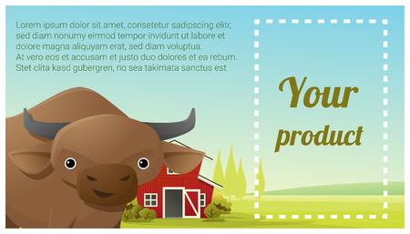 Farm animal and Rural landscape background with cow , vector , illustration Illustration