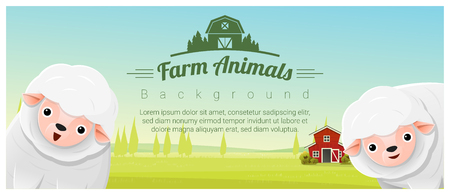 Farm animal and Rural landscape background with sheep , vector , illustration Illustration