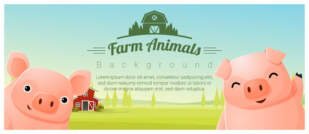 Farm animal and Rural landscape background with pigs , vector , illustration Illustration