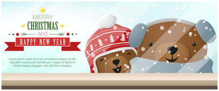 Merry Christmas and Happy New Year background with bears standing behind window , vector , illustration Illustration