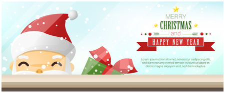 Merry Christmas and Happy New Year background with Santa Claus standing behind window  , vector , illustration Illustration