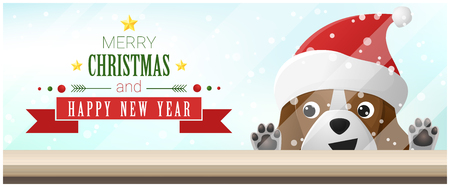 Merry Christmas and Happy New Year background with beagle dog looking at empty table top , vector , illustration Illustration