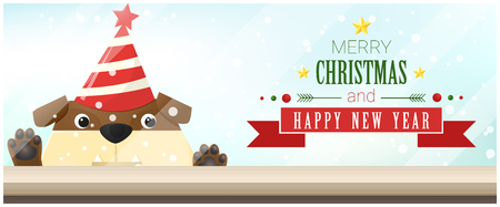 Merry Christmas and Happy New Year background with bulldog looking at empty table top , vector , illustration Illustration