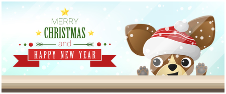 Merry Christmas and Happy New Year background with chihuahua dog looking at empty table top , vector , illustration Illustration