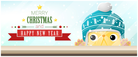Merry Christmas and Happy New Year typography with cute animal pet looking at empty table top  design for greeting card, poster and banner in colorful illustration.