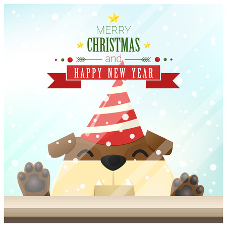 Merry Christmas and Happy New Year background with dog standing behind window , vector , illustration Illustration