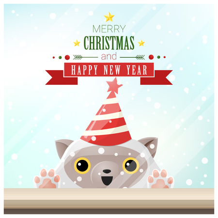Merry Christmas and Happy New Year background with cat standing behind window , vector , illustration