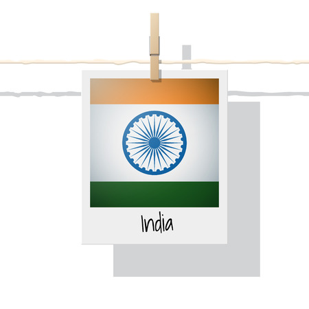 Flag collection with photo of Indian flag vector illustration