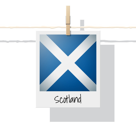 European country flag collection with photo of Scotland flag , vector , illustration Иллюстрация