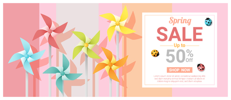 Spring sale banner with colorful pinwheels , vector , illustration Stock Vector - 93057686