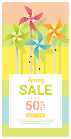 Spring sale banner with colorful pinwheels, vector illustration.