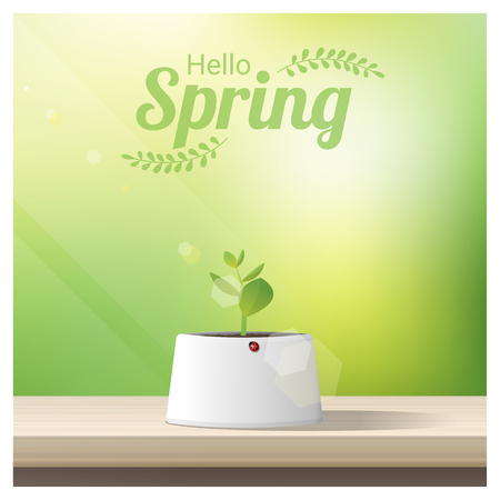 Hello Spring background with young sprout growing in a pot on wooden table top vector illustration Illustration