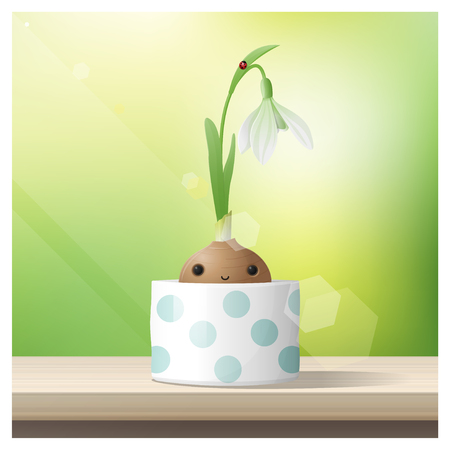 Hello Spring background with Spring flower Snowdrop growing in a pot on wooden table top , vector , illustration