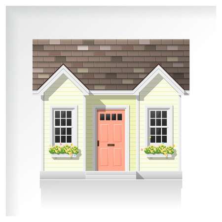Elements of architecture with a small house icon isolated on white background , vector ,illustration Stock Illustratie