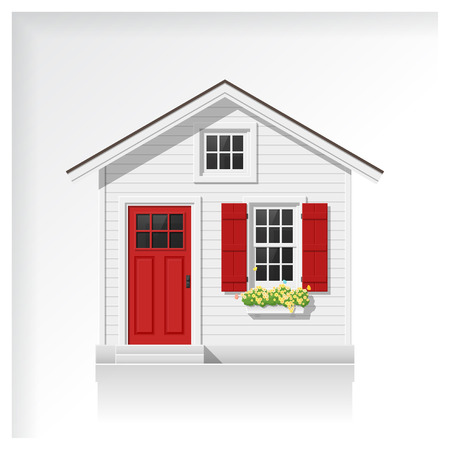 Elements of architecture with a small house icon isolated on white background , vector ,illustration Vectores