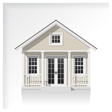 Elements of architecture with a small house icon isolated on white background , vector ,illustration Çizim