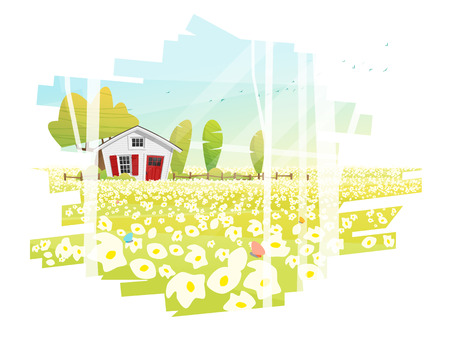Beautiful rural landscape and a small house background , vector , illustration