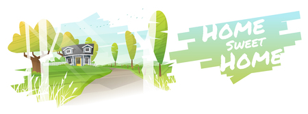Home sweet home, beautiful rural landscape and a small house background vector illustration.
