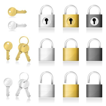 Set of realistic key and padlock icons isolated on white background , vector , illustration