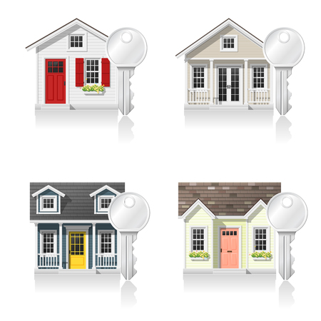 Set of small houses and keys isolated on white background , vector , illustration